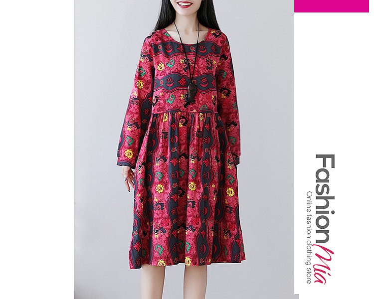style:casual, material:cotton/linen, collar&neckline:round neck, sleeve:long sleeve, embellishment:ruched, pattern_type:abstract print, length:midi, how_to_wash:cold  hand wash, supplementary_matters:all dimensions are measured manually with a deviation of 2 to 4cm., occasion:casual, dress_silhouette:flared, package_included:dress*1, lengthsleeve lengthbust