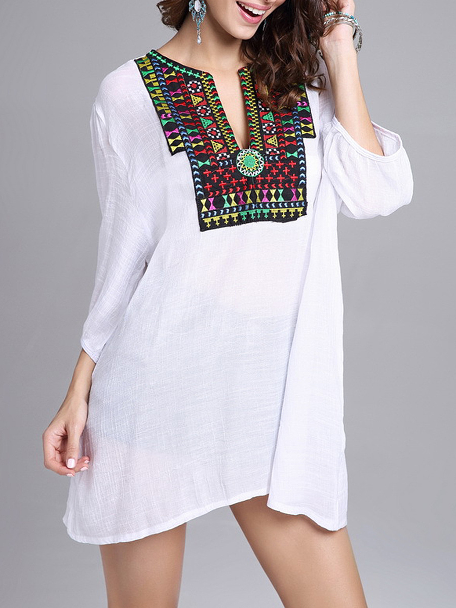 Split Neck  Embroidery Tunic