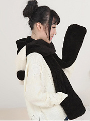Cartoon-Panda-Winter-Thicken-Scarf-Wrap-Hat-Gloves-Set-One-Piece-Wollen-Ourdoors-Long-Hooded-Scarfs-Gloves