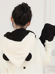 Cartoon Panda Winter Thicken Scarf  Wrap Hat Gloves Set One Piece Wollen Ourdoors Long Hooded Scarfs Gloves