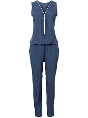 Zips-V-Neck-Pocket-Plain-Elastic-Waist-Slim-Leg-Jumpsuit