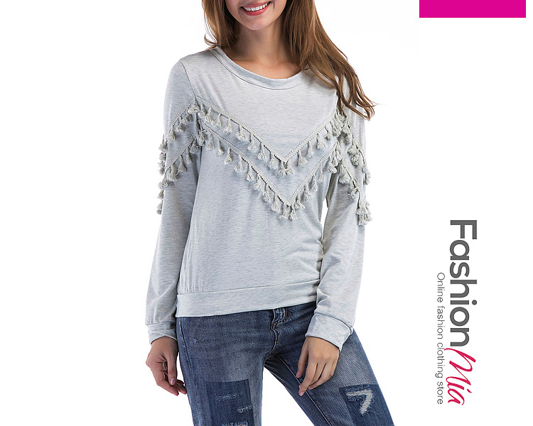 material:blend, collar&neckline:round neck, sleeve:long sleeve, embellishment:tassel, pattern_type:plain, occasion:casual*sport, season:autumn*spring, package_included:top*1, length:54,shoulder:38,sleeve length:58,bust:90,
