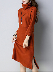 Turtleneck Asymmetric Hem Plain Hollow Out Shift Dress