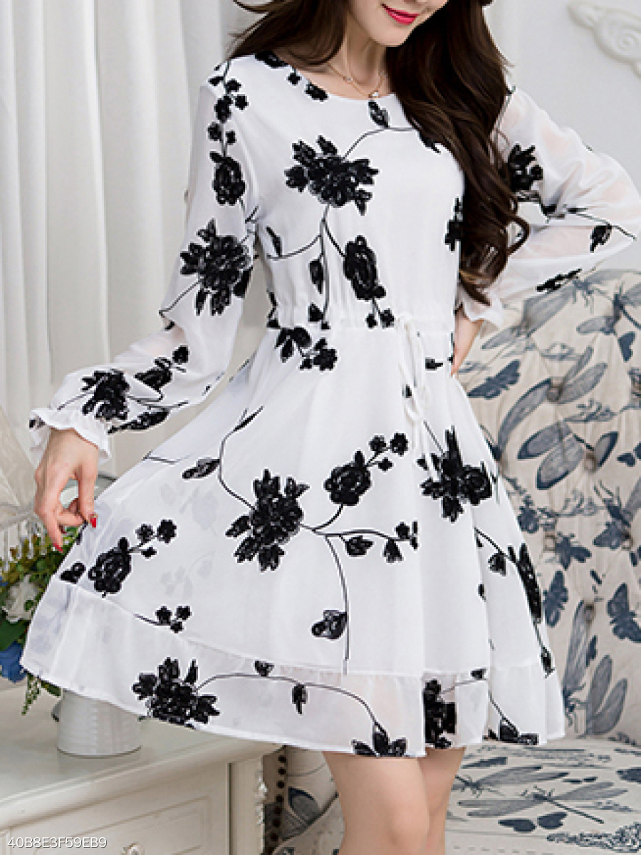 Round Neck  Drawstring  Embroidery Floral Skater Dress