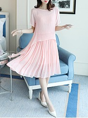 Round Neck  Plain Pleated Skater Dress
