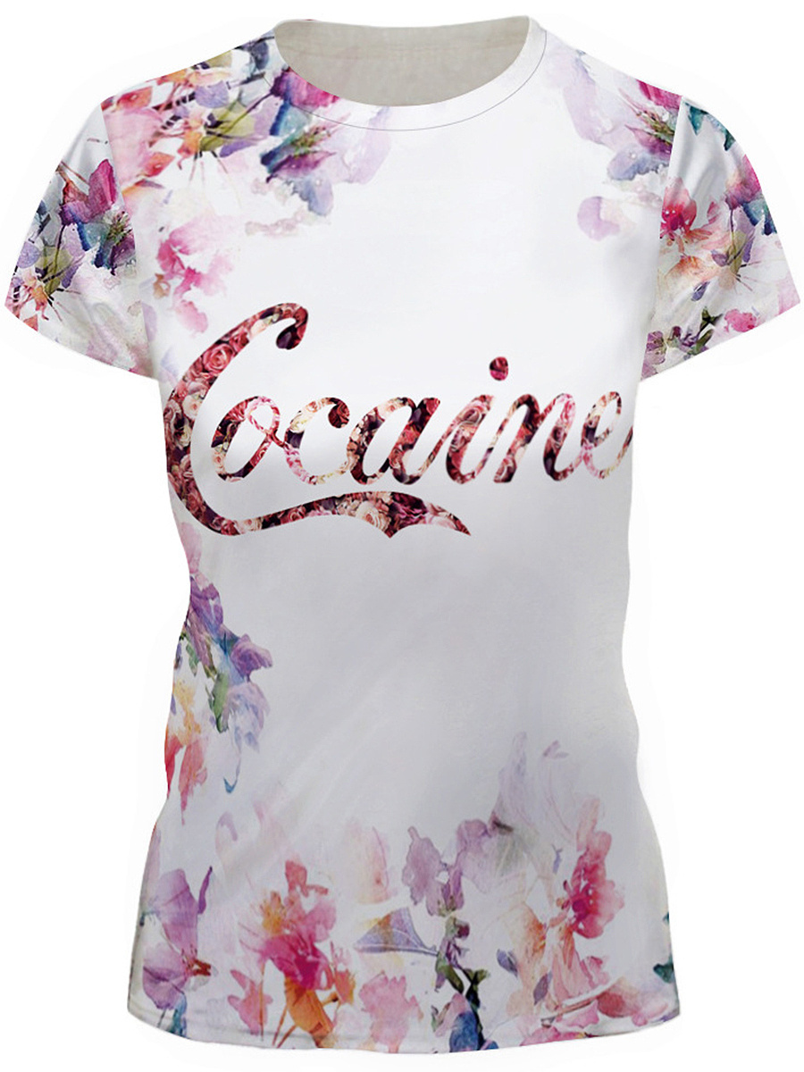 Round Neck Floral Letters Short Sleeve T-Shirt
