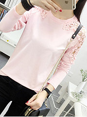 Autumn Spring  Cotton  Women  Round Neck  Decorative Lace  Plain Long Sleeve T-Shirts