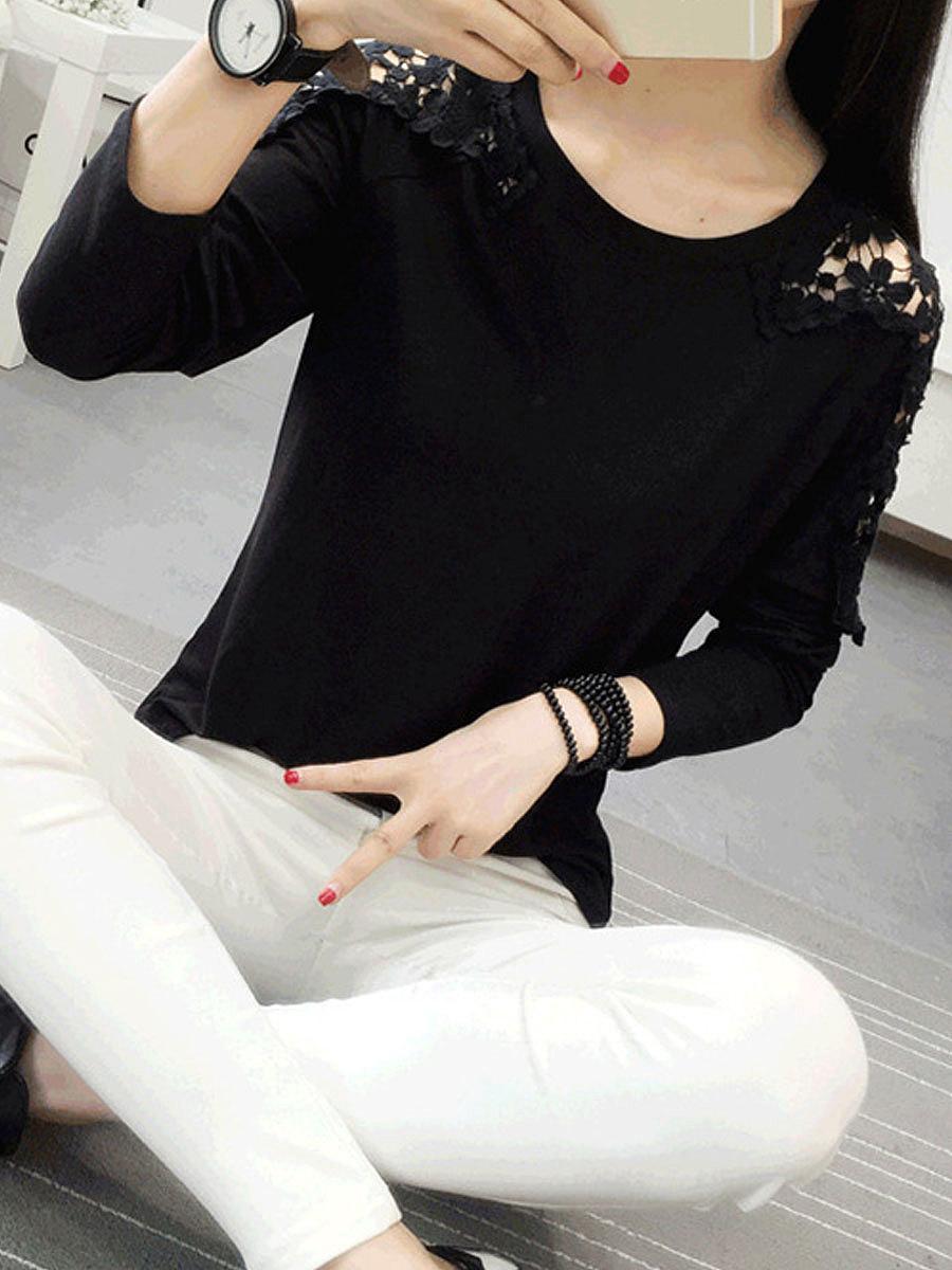 Autumn Spring  Cotton  Women  Round Neck  Decorative Lace  Plain Long Sleeve T-Shirts