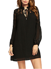 Tie Collar  Patchwork See-Through  Plain Shift Dress