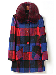 Faux Fur Collar Plaid Patch Pocket Woolen Coat