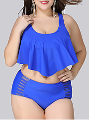 Spaghetti Strap  See-Through  Plain Plus Size Swimwear