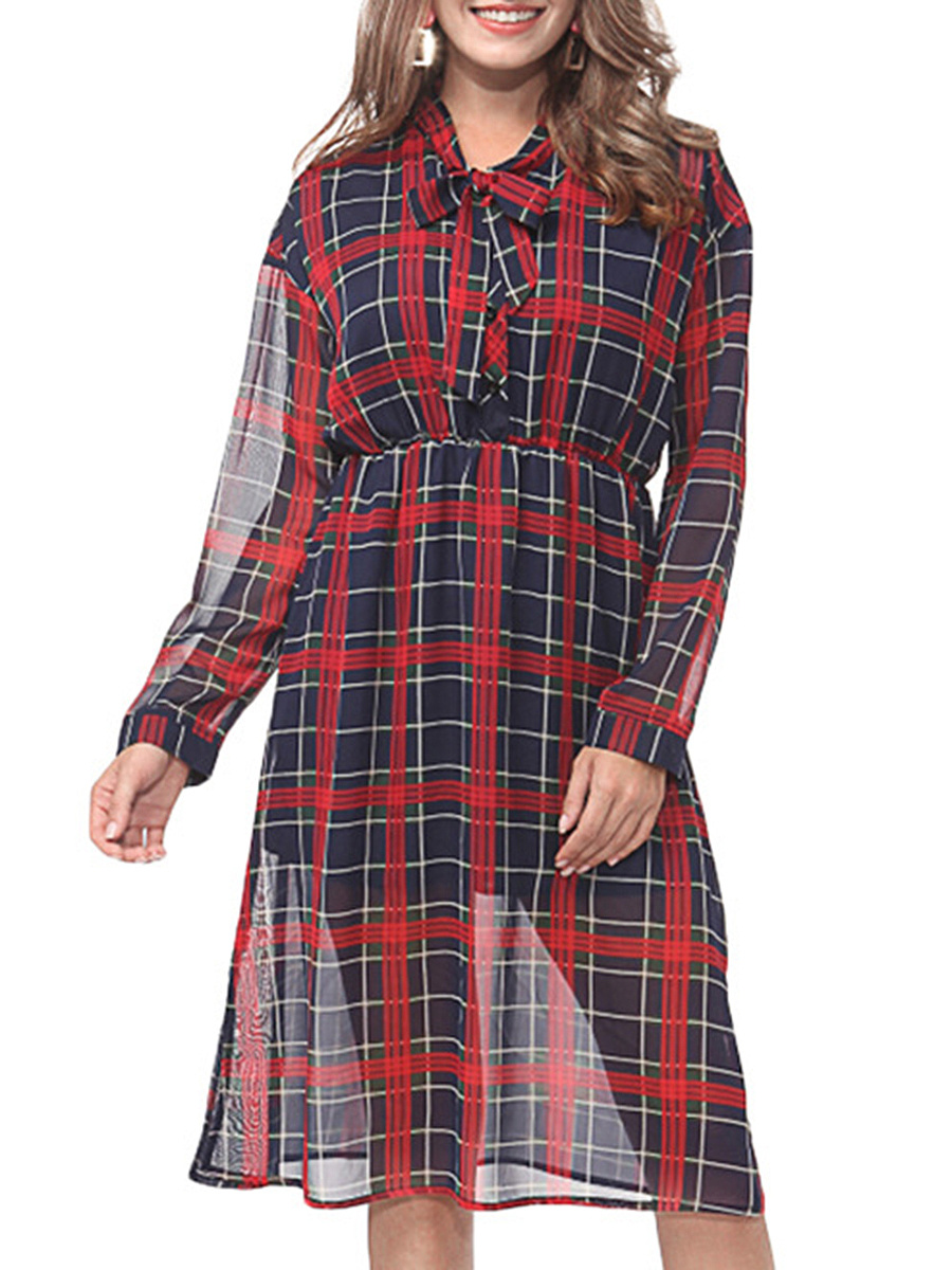 Tie Collar  Elastic Waist  Hollow Out Plaid  Chiffon Maxi Dress