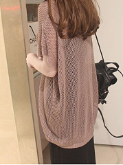 Round Neck  Hollow Out Plain  Batwing Sleeve  Short Sleeve Sweaters Pullover