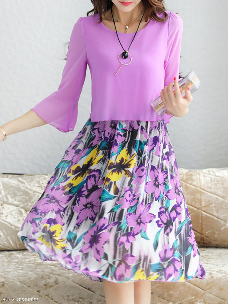 Bell Sleeve Floral Printed Chiffon Skater Dress