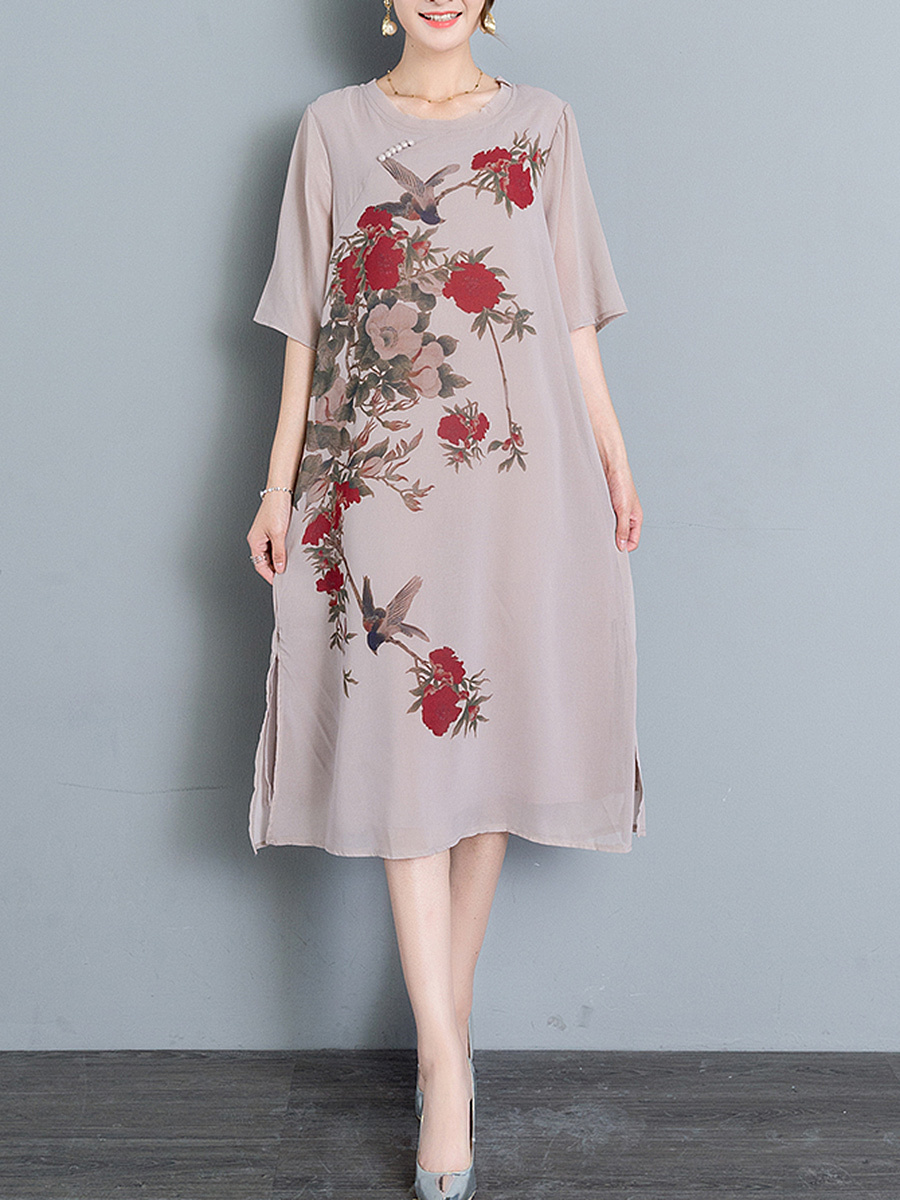 Floral Printed Round Neck Side Slit Midi Chiffon Shift Dress