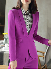 Fold-Over Collar  Flap Pocket  Plain  Long Sleeve Blazers