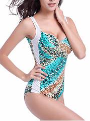 Sweet Heart  Scoop Back  Animal Printed One Piece