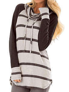 Cowl Neck  Drawstring Loose Fitting  Stripes Long Sleeve T-Shirts