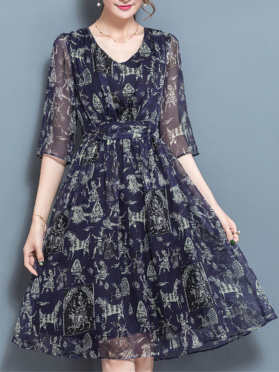 V-Neck Hollow Out Printed Chiffon Skater Dress