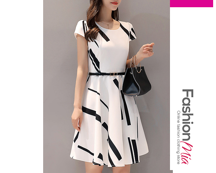 thickness:regular, brand_name:fashionmia, down_content:100%, style:elegant,fashion,office outfit, material:polyester, collar&neckline:round neck, sleeve:short sleeve, pattern_type:printed, length:knee-length, how_to_wash:cold gentle machine wash, supplementary_matters:all dimensions are measured manually with a deviation of 2 to 4cm.,belt is excluded.,fabric without elasticity., occasion:date,office,semi-formal, season:autumn,spring,summer, dress_silhouette:flared, package_included:dress*1, lengthshouldersleeve lengthbustwaist