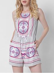 Drawstring-Zigzag-Striped-Round-Neck-Pocket-Romper