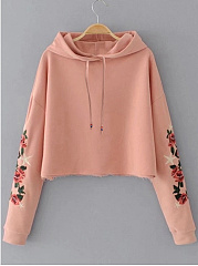 Embroidery Drawstring Cropped Hoodie