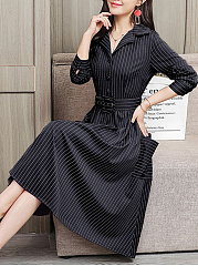 Fold Over Collar  Single Breasted  Striped Skater Dress
