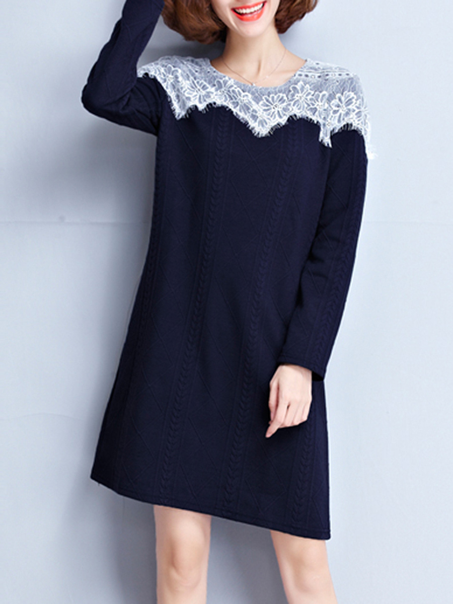 Round Neck Decorative Lace Shift Dress