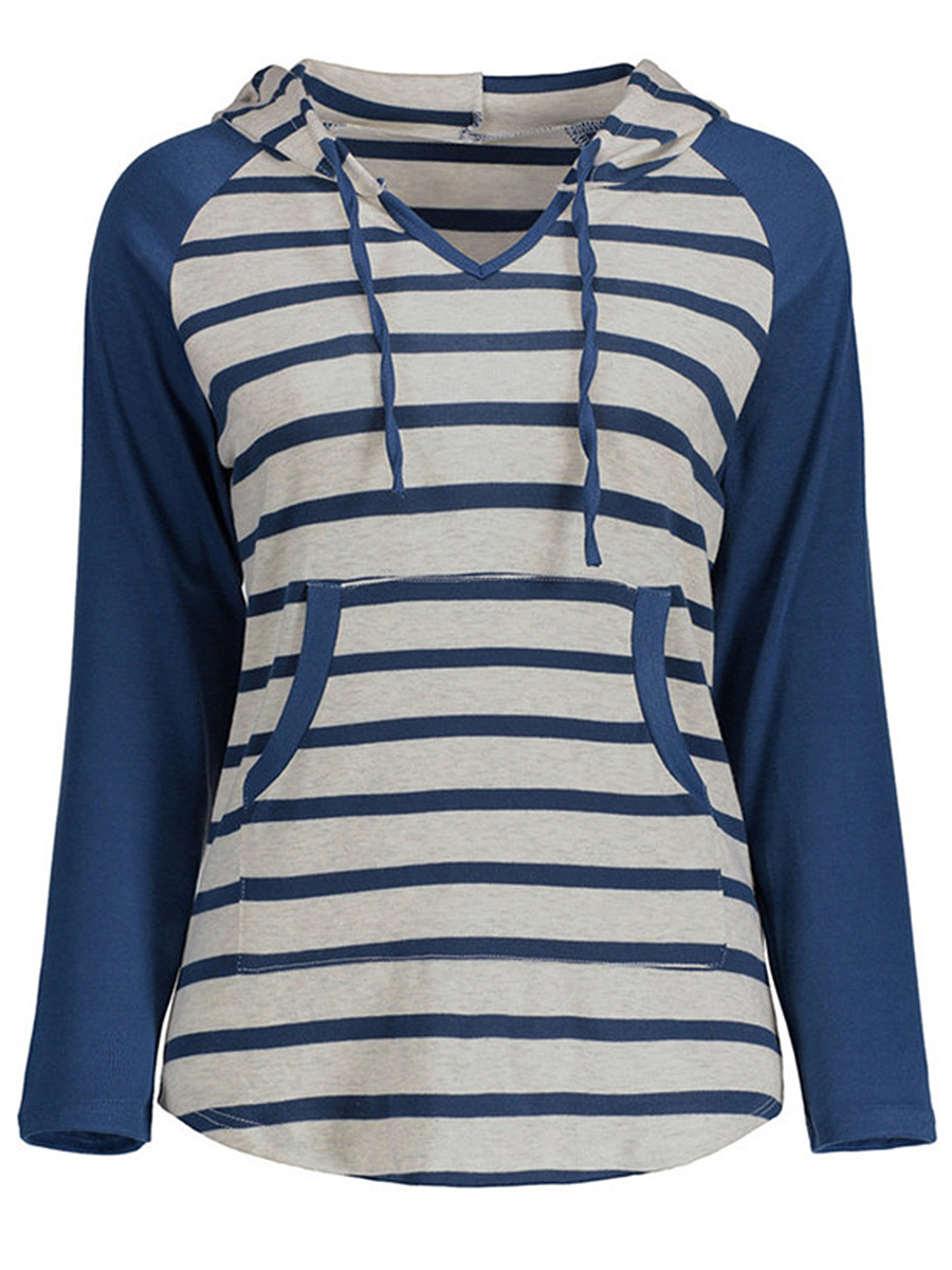 Striped Kangaroo Pocket Raglan Sleeve Hoodie