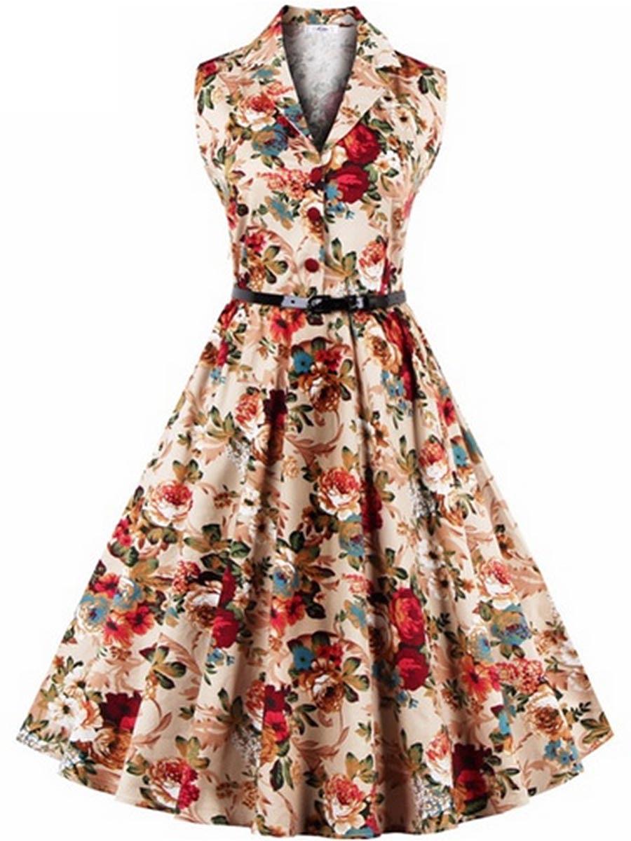 V-Neck Belt Floral Printed Skater Dress