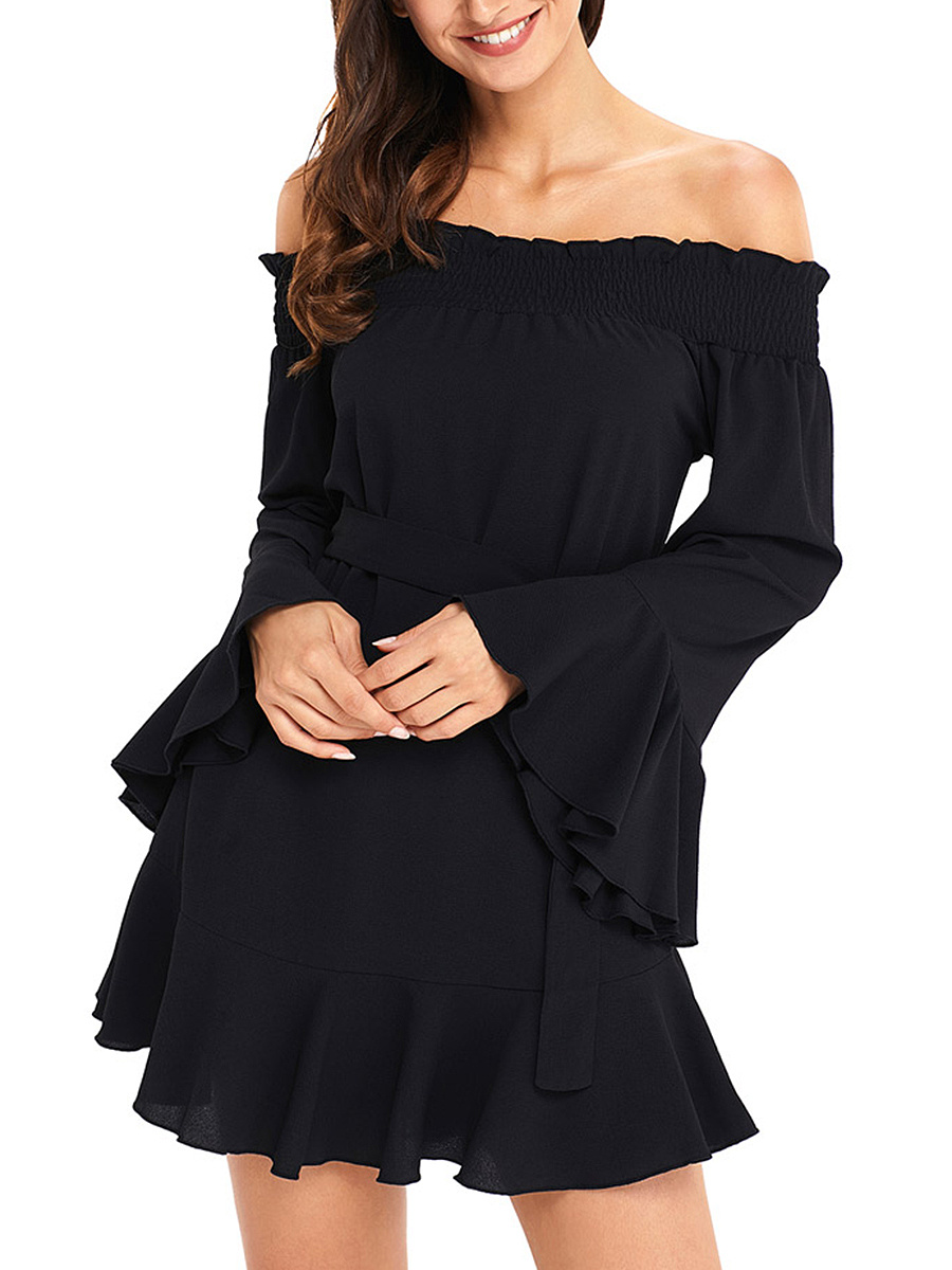 Off Shoulder Bell Sleeve Belt Plain Flounce Shift Dress