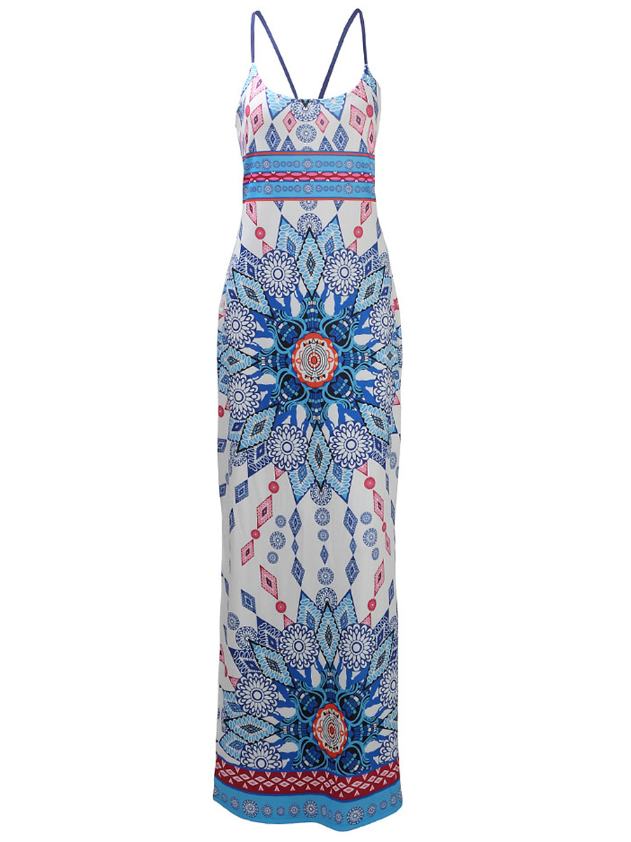 Spaghetti Strap Lace-Up Tribal Printed Side Slit Maxi Dress