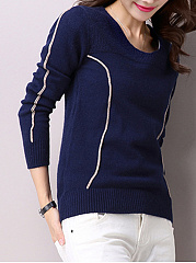 Round Neck  Contrast Stitching Knit Pullover