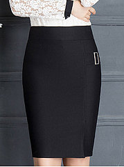Lightweight  High Stretch  Plain  Pencil Maxi Skirts