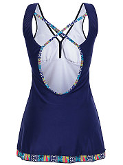 Plus Size Criss-Cross Back Hollow Out Printing Sleeveless Swimdress For Women