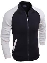 Men-Black-White-Color-Block-Band-Collar-Jacket