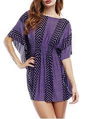 Round Neck  Flounce  Zigzag Striped  Batwing Sleeve  Half Sleeve Blouses