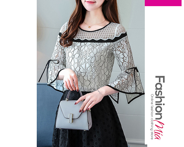 Image of Round Neck Bowknot Decorative Lace Contrast Piping Lace Bell Sleeve Blouses