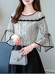 Round Neck  Bowknot Decorative Lace  Contrast Piping  Lace  Bell Sleeve Blouses