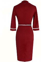 Shawl Collar Belt Contrast Piping Bodycon Dress