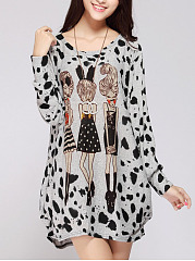 Casual Round Neck  Cartoon Printed Shift Dress
