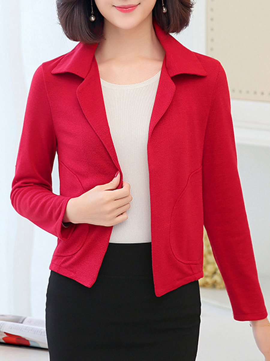 Lapel Patch Pocket Plain Blazer