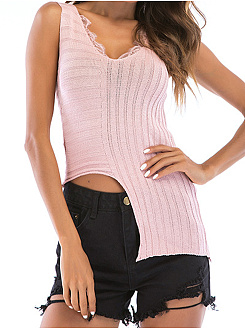 V-Neck  Plain Striped  Sleeveless Sweaters Pullover