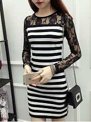Round Neck  Hollow Out Lace Striped Bodycon Dress