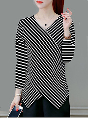 Autumn Spring  Nylon  Women  V-Neck  Striped Long Sleeve T-Shirts