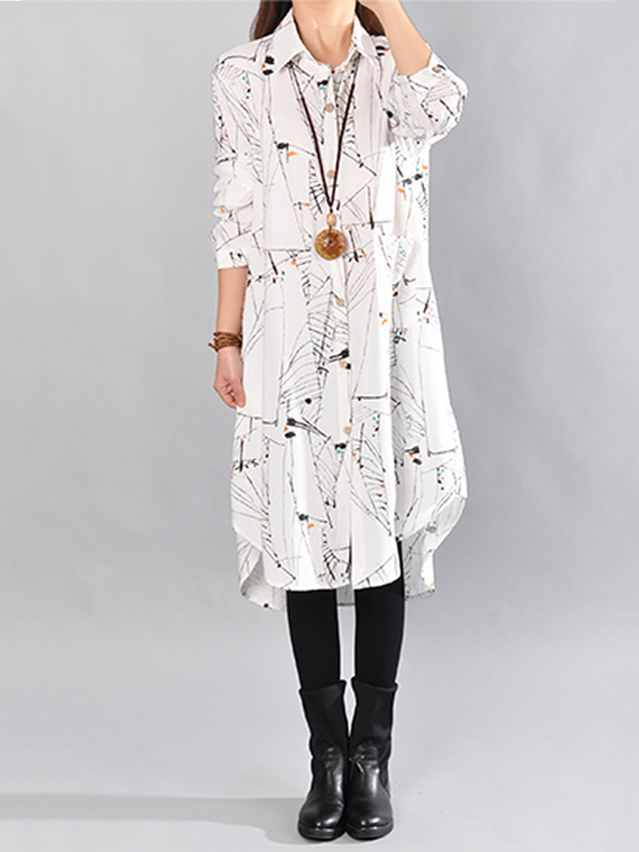 Abstract Print Patch Pocket  Maxi Dress