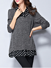 Turn Down Collar  Patchwork  Polka Dot Sweater
