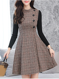 Round Neck  Patchwork Single Breasted  Plaid Skater Dress