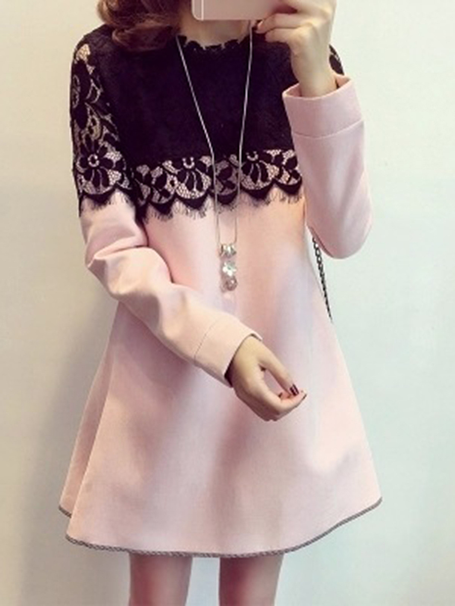 Band Collar Decorative Lace Hollow Out Woolen Shift Dress