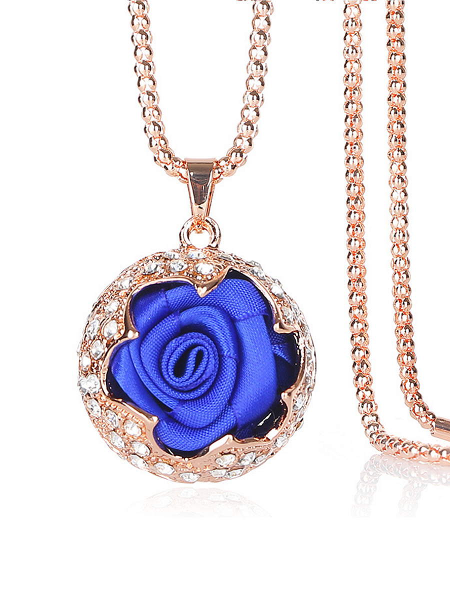 Ribbon Rose Rhinestone Pendant Long Necklace